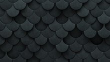 Fish Scale, Polished Wall Background With Tiles. 3D, Tile Wallpaper With Concrete, Futuristic Blocks. 3D Render