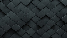 3D, Arabesque Wall Background With Tiles. Concrete, Tile Wallpaper With Polished, Futuristic Blocks. 3D Render