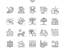 Island. Summer Travel And Vacation. Diving, Surfing And Sea Beach. Pixel Perfect Vector Thin Line Icons. Simple Minimal Pictogram