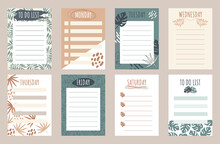 Sheets Template For Organizer, Planner, To Do List In Summer Exotic Style. Flat Vector Illustration Of A Set Of Schedule Pages.