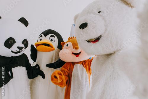 Fototapeta Group of animals mascots doing party obraz