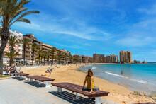 Torrevieja, Alicante. Spain; May 11, 2021: Playa Del Cura In The Coastal City Of Torrevieja