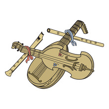 Stringed Musical Instrument Isolated On A White Background In EPS10