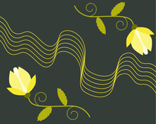 Two Abstract Yellow Flowers And Wavy Lines On A Dark Background