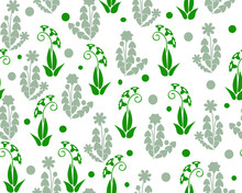 Seamless Pattern With Abstract Gray And Green Flowers On A White Background