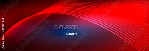 Fototapeta Abstract neon glowing light in the dark with waves. Shiny magic energy and motion concept, vector abstract wallpaper background obraz