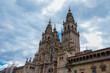 View of the facade of the Obradoiro, Cathedral of Santiago de Compostela. Galicia, Spain.