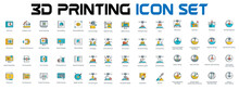 3D Printing Icon Set , 3D Printing And Modeling Related Vector Line Icons