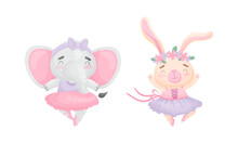Cute Animals In Ballerina Dress Dancing Vector Set