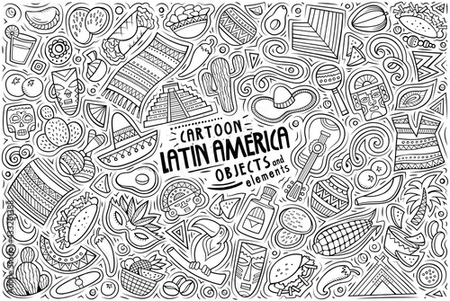 Fototapeta Vector doodle cartoon set of Latin American theme objects and symbols obraz