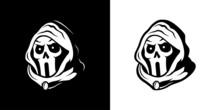 Hooded Skull Line Art Logo