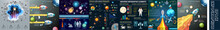 Set Of Universe Infographics - Solar System, Planets Comparison, Sun And Moon Facts, Space Junk Made By Man, Big Bang Theory, Galaxies Classification, Milky Way Description., Rocket, Stars, Astronomy,