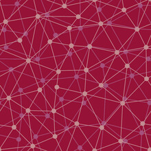 Burgundy Background With Grid Structure. Web Connection With Dots In Nodes. Abstract Bionic Line Network Seamless Pattern.