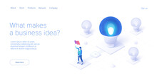 Brainstorming Session Concept In Isometric Vector Illustration. Brain Storm Or Strategic Thinking As Business Research. Web Banner Template.