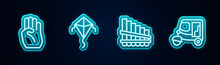 Set Line Indian Symbol Hand, Kite, Pan Flute And Taxi Tuk Tuk. Glowing Neon Icon. Vector