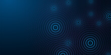 Futuristic Abstract Banner With Abstract Water Rings, Ripples On Dark Blue