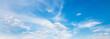Leinwandbild Motiv panorama blue sky background with white cloud