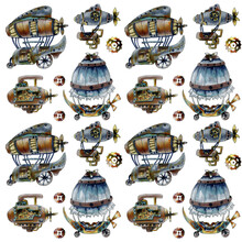 Watercolor Seamless Pattern With Fantastic Airships. Pattern Of A Flying Car In The Steampunk Style. Hand-drawn. Air Transport Of The 19th Century Isolated On A White Background. Fantastic Art.
