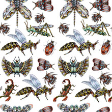 Seamless Pattern With Insects Drawn In Steampunk Style. Watercolor Background With Robot Beetles. Mechanical Beetles, Crickets, Grasshoppers, Scorpions, Isolated On A White Background. Fantastic Art.