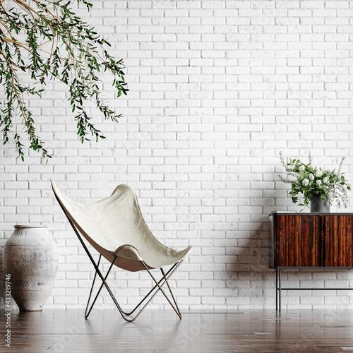 Fototapeta Home interior loft in industrial style, 3d render  obraz
