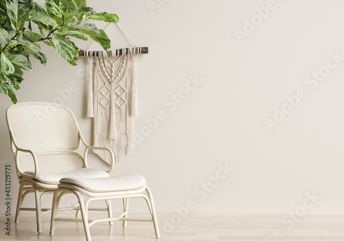 Fototapeta Home mockup, cozy beige minimalist interior background, Boho style, 3d render
