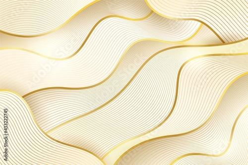 Golden Hand Made Wavy Background Illustrations Tapéta, Fotótapéta