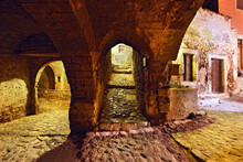 "The Entrance Of The ""castletown"" Of Monemvasia (or ""Malvasia""), At Night. Lakonia Prefecture, Greece"