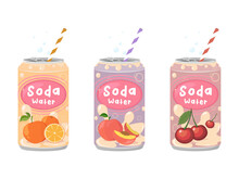 Various Tasty Soda Beverages Set. Drinks In Aluminum Cans. Carbonated Water With Different Fruit Flavors. Kawaii Asian Style. Trendy Illustration.
