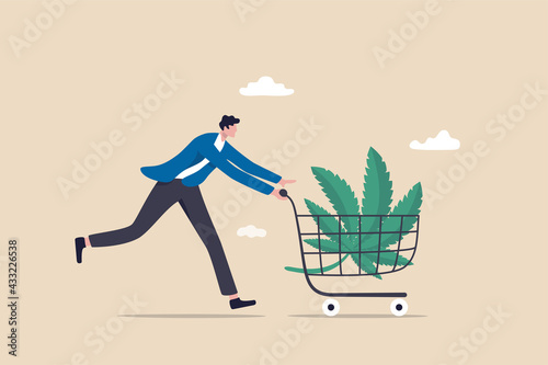Foto Purchasing cannabis CBD or buying marijuana for medical concept, happy patient man pushing shopping cart with cannabis leaf