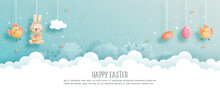 Happy Easter With Cute Bunny And Easter Eggs In Paper Cut Style Illustration