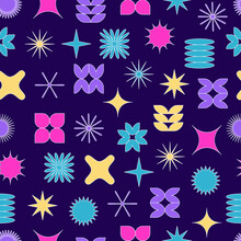 Vector Seamless Pattern With Abstract Colorful Minimalistic Patchwork Geometric Elements. Contemporary Simple Various Shapes, Curves, Lines, Zigzag. Poster Print Template, Textile