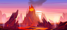 Volcanic Eruption Illustration. Volcano Erupts With Hot Lava, Fire And Clouds Of Smoke, Ash And Gases. Vector Cartoon Landscape With Rocks, Mountain With Crater And Flow Magma At Sunset