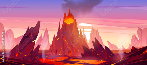 Fototapeta Volcanic eruption illustration. Volcano erupts with hot lava, fire and clouds of smoke, ash and gases. Vector cartoon landscape with rocks, mountain with crater and flow magma at sunset obraz