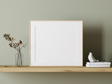 Empty White Mock Up Picture Frame On Wooden Shelf With Green Plant Decoration 3D Rendering, 3D Illustration