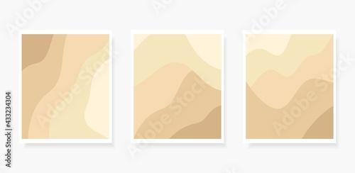 Billede på lærred Paper cut Abstract art background 3d beige gold color beach sand,desert with barchan dunes