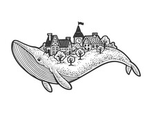 City On Back Of Whale Sketch Raster Illustration