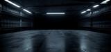 Fototapeta Przestrzenne - Dark Concrete Led White Lights Underground Tunnel Corridor Cement Asphalt Hallway Warehouse Tunnel Corridor Metal Structure Realistic Empty 3D Rendering