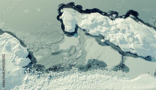 Fotografia, Obraz Ice on Lake Ladoga in winter in Karelia, aerial view