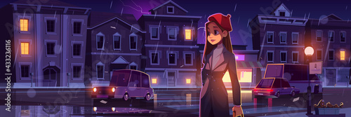 Young woman on night street at rainy weather in town with cars going along illuminated road with lampposts and crossroad, water puddles and flash lightning in dark sky, cartoon vector illustration - fototapety na wymiar