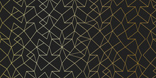 Line Art Vector Background With Gold Accent And Black Background, Modern Geometric Polygonal Shape Illustration With Luxury Idea, Modern Wallpaper Suitable For Print