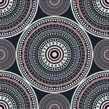 Ottoman Folk Motifs Seamless Pattern. Circle Medallion Mandala Abstract Tiles. Textile Print Template. Clothes, Carper Or Tile Pattern. Floral Geometric Circular Seamless Ornament.