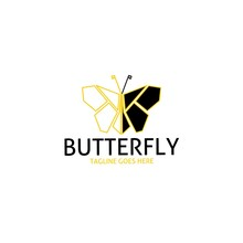 Butterfly Line Art Geometric Simple Logo Icon Sign Symbol Mascot For Brand, Clothing Store, Apparel, Company, Business, Banners, Poster, Paper, Cover, Background And Wallpaper.