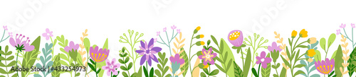 Fotografía Cute horizontal banner with hand drawn blooming flowers