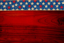 Retro American Patriotic Background With USA Flag Stars Ribbon On Wood