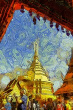 Wat Phra That Doi Suthep Temple Chiang Mai Thailand Illustrations Creates An Impressionist Style Of Painting.