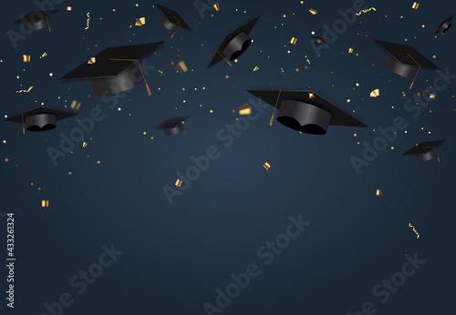 Fototapeta Graduation class party blue background with graduation cap hat and confetti. Vector Illustration obraz