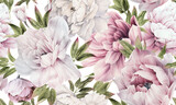 Seamless floral pattern with peonies on summer background, watercolor illustration. Template design for textiles, interior, clothes, wallpaper - 433261514