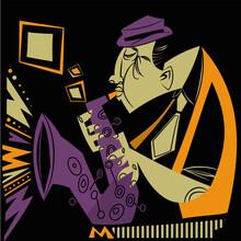 Cubism Jazz Music Sax Player - Retro Flat Illustration