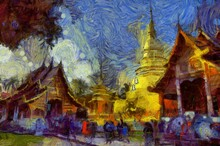 Wat Phra Singh Temple Chiang Mai Thailand Illustrations Creates An Impressionist Style Of Painting.