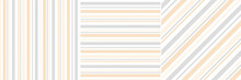 Stripes Pattern In Soft Orange, Grey, White. Herringbone Textured Vertical, Horizontal, Diagonal Lines For Dress, Shirt, Blouse, Notebook Cover, Other Modern Spring Summer Textile Or Paper Print.